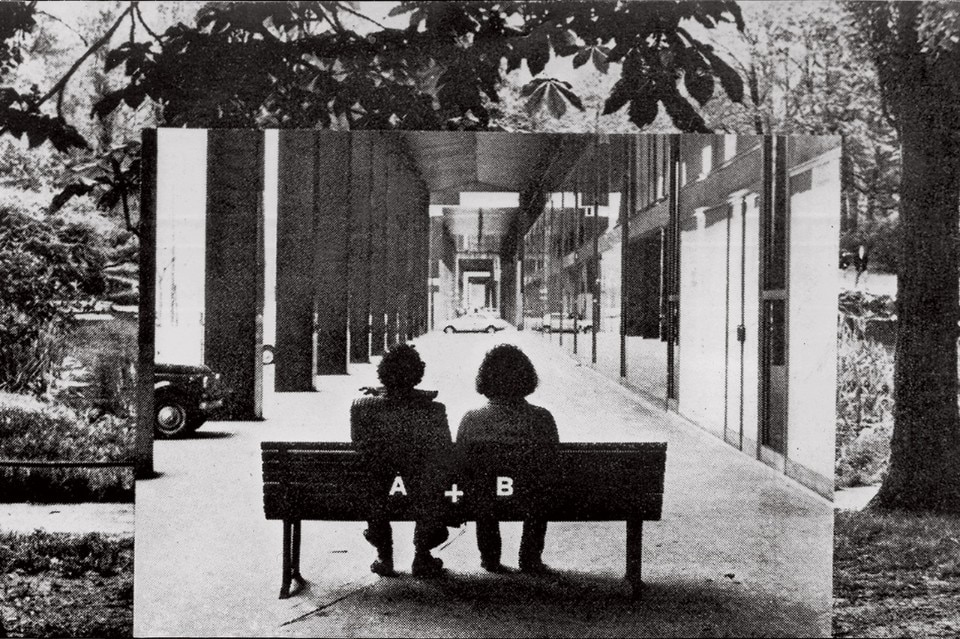 Ugo La Pietra, On the bench, 1972, stampa b/n, Courtesy Laura Bulian Gallery, Milano