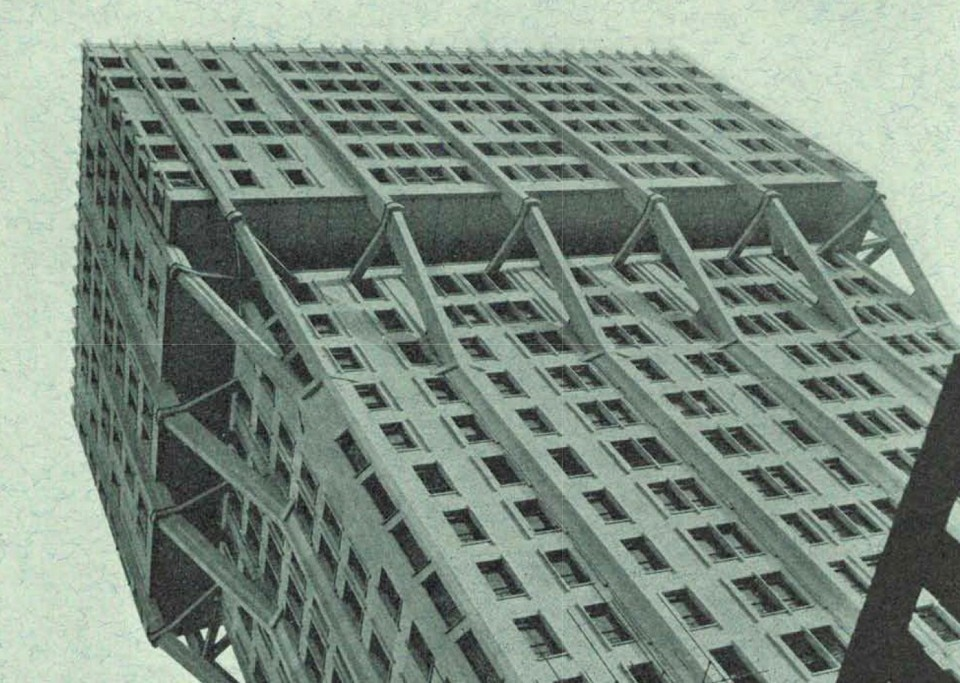 BBPR, Torre Velasca, Milan, 1951-1958. From Domus 378, May 1961