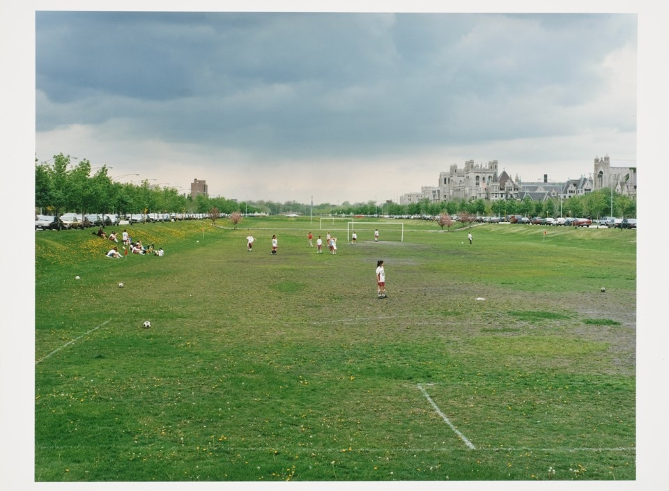 Robert Burley, Playing field of Riverdale Park next to Don Valley Parkway, Toronto, Ontario 1984. Chromogenic colour print 38.0x48.1 cm. Canadian Centre for Architecture © Robert Burley
