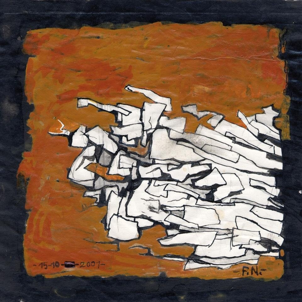Franco Normanni, <i> L'avanzata</i>, 2001, acrilico e china su carta, cm 16,3x16,5.