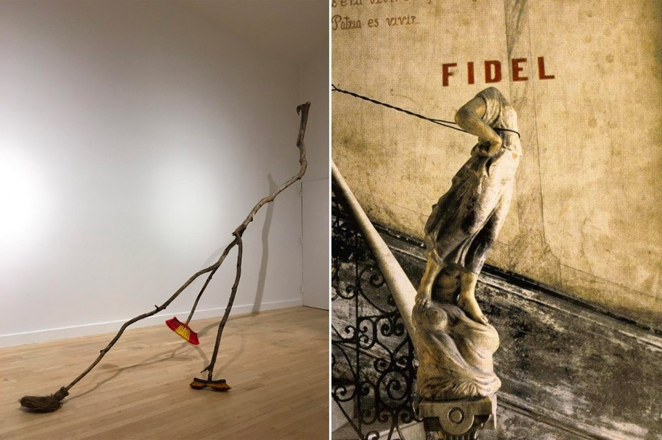 Humberto Diaz, Escobita Nueva (New Little Broom), 2014. Wood and plastic sculpture. The Bronx Museum of the Arts Permanent Collection, gift of the Hudgins Family. Right: Carlos Garaicoa, Untitled (Decapitated Angel), 1993, color photograph (detail). The Bronx Museum of the Arts Permanent Collection