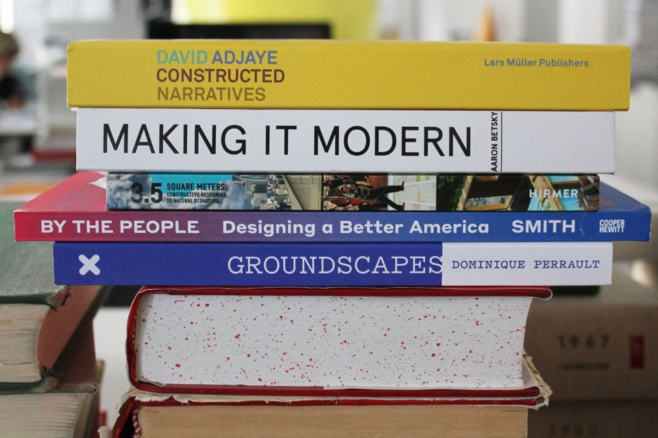 Five books for the summer: from top, David Adjaye; Aaron Betsky; 3.5 square meters; By the people; Dominique Perrault