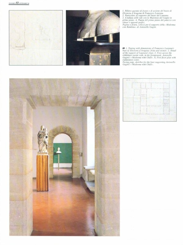 Domus 708, September 1989, page 82. Carlo Scarpa, The exhibition design of Palazzo Abatellis in Palermo, 1953-54, views, drawings and details