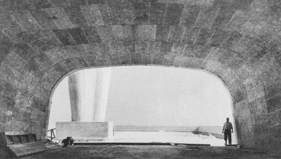 Two chimney stacks seen through the access tunnel to the terrace at l'Unité d'Habitation by Le Corbusier in Marseille, 1950