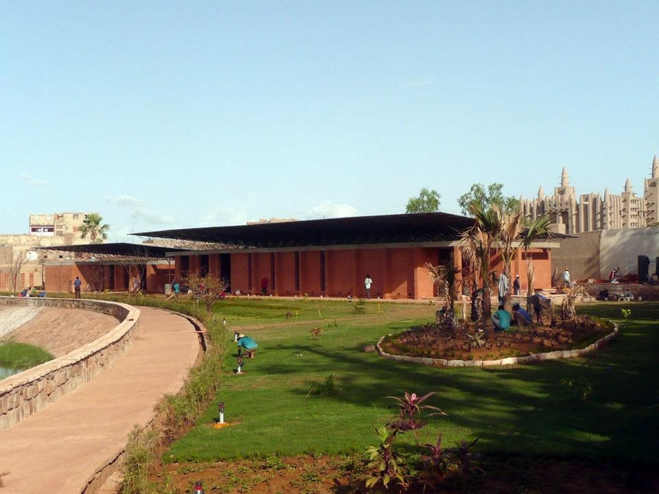 View of the visitors' center at the Great Mosque in Mopti, Mali; the building houses a community center and the Centre for Earthen Architecture