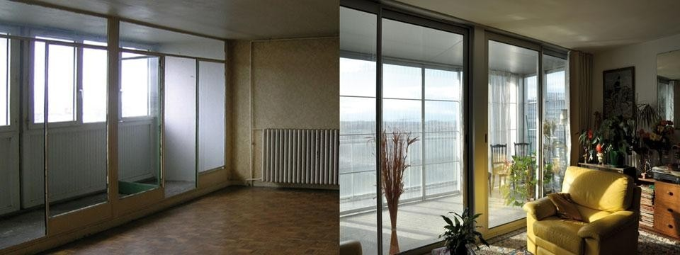 Previous and current aspect of the inside of one of the appartments. Photos by Lacaton & Vassal and Frédéric Druot
