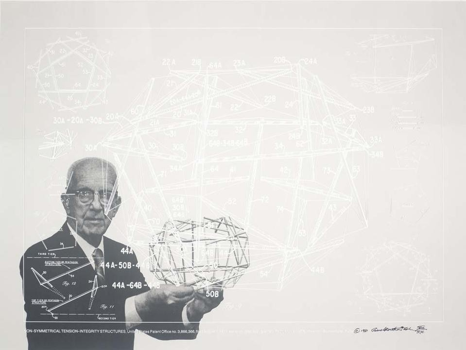 Buckminster Fuller and Chuck Byrne, <em>Non-Symetrical Tension-Integrity Structures</em>, United States Patent Office no. 3,866,366, from the portfolio <em>Inventions: Twelve Around One</em>, 1981. © The Estate of R. Buckminster Fuller, All Rights reserved. Published by Carl Solway Gallery, Cincinnati