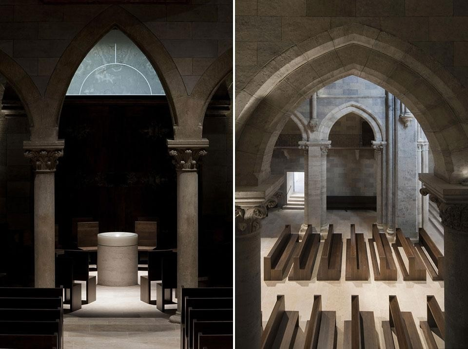 Left: the new baptismal font is located under the basilica's tower, on the nave's central axis, with scope to configure the seating to form an inwardly focused area for baptism. Right: a new doorway — in the location of an earlier classical door — allows the community to process directly from the lower sacristy into the church, via a new set of steps
