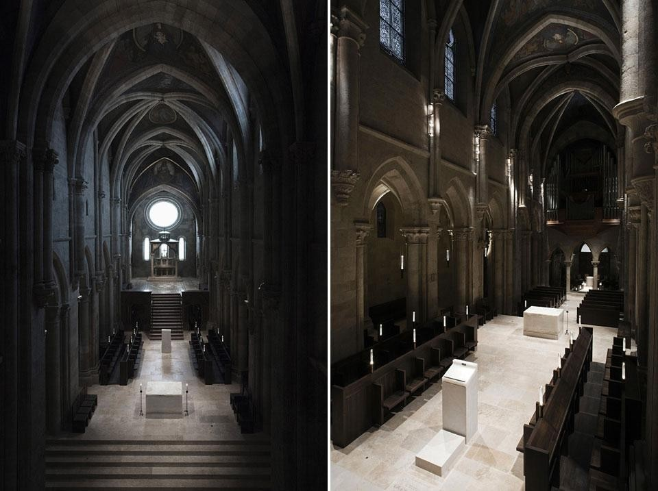 Left: the eye is led through the nave, past a succession of key landmarks, including the altar, the lectern and the three arched windows of the apse, upwards to the celestial circle of light. Right: a common construction language unites all of the new liturgical elements, each piece being fabricated from blocks of two varieties of stone: limestone and onyx