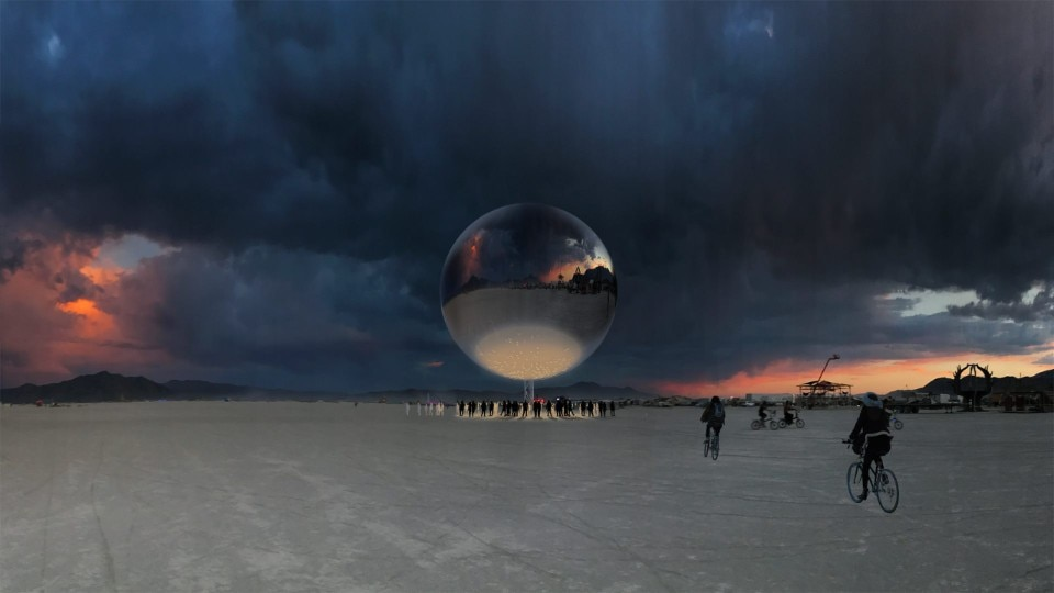 The orb by Bjarke Ingels at the Burning Man