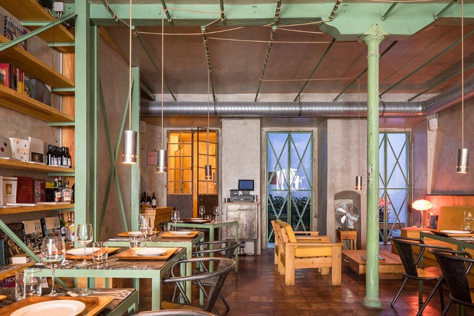 Lisbon. A restaurant in the historic district of Alfama shows existing structure and installations