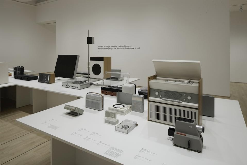 Installation view of <i>Less and More: the Design Ethos of Dieter Rams</i> on view at the San Francisco Museum of Modern Art.