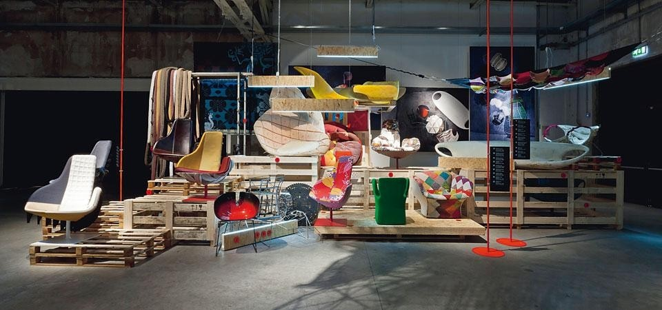 "Top and Above: Items from the M'Afrique Collection on show in the exhibition ""Backstage_il dietro le quinte"" at HangarBicocca. Curated by Patrizia Moroso and Marco Viola, the show celebrates Moroso's 60 years of activity. Photo Stefano De Monte"