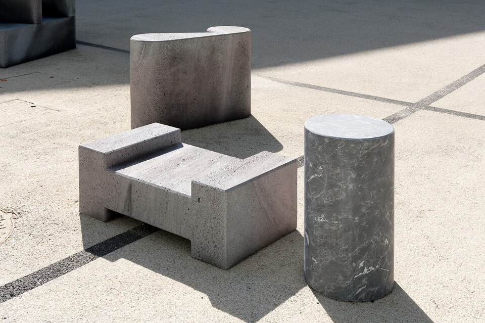 26 lava stone seats represent the Latin alphabet