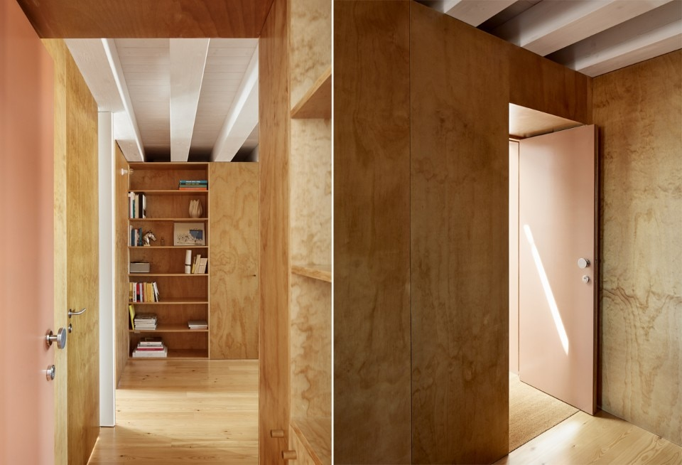 Wooden Panels dress the interiors of an apartment in Lisbon