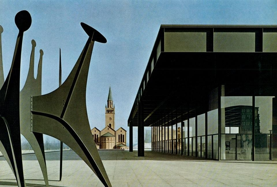 The large platform on the side of the court, and a large Calder <i>stabile</i>; the Matthaikirche in the background.
