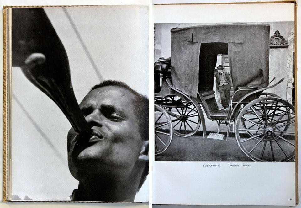 Domus Almanac 1943, <em>Fotografia. Prima rassegna dell'attività fotografica italiana</em> [Photography. First review of photography in Italy]. Left, photo by Federico Patellani. Right, photo by Luigi Comencini