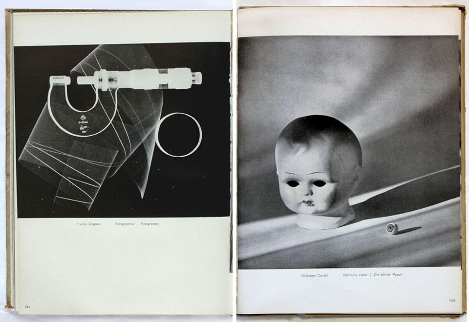 Domus Almanac 1943, <em>Fotografia. Prima rassegna dell'attività fotografica italiana</em> [Photography. First review of photography in Italy]. Left, photo by Franco Grignani. Right, photo by Giuseppe Cavalli