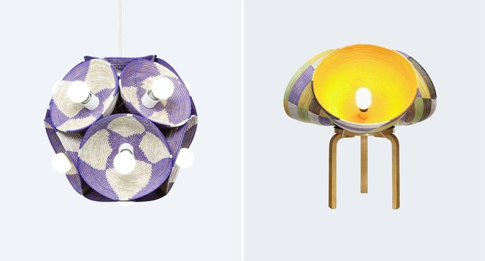 Stephen Burks: Starburst Lamp (left) and Triple Basket Table (right), 2011.