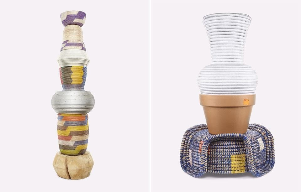 Stephen Burks: Material Composition—Totem (left) and Crown (right), 2011.