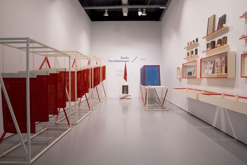Top and above: <em>Turkish Red & More</em>, installation view at the Tilburg Textile Museum. Exhibition design by Studio Formafantasma