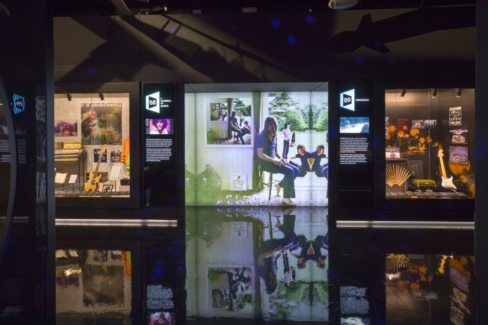 """The Pink Floyd Exhibition: Their Mortal Remains"", exhibition view, V&A, London, 2017"