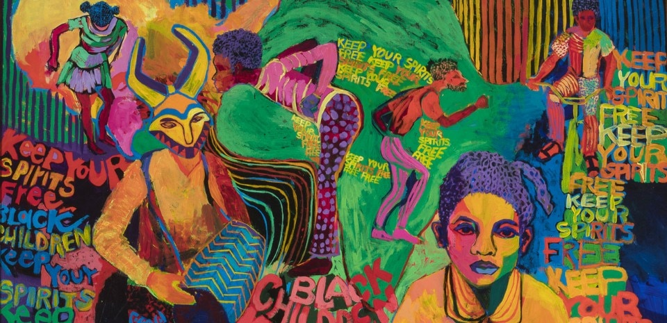 Carolyn Lawrence, Black Children Keep Your Spirits Free, 1972, acrylic paint on canvas. Courtesy of Carolyn Mims Lawrence