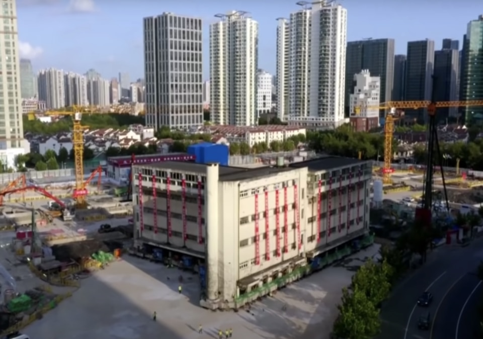 Shanghai 5-storey building moved by an army of robots to a new location