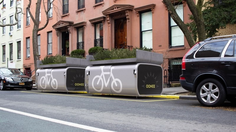 Oonepod Mini is a curbside parking box for your bike