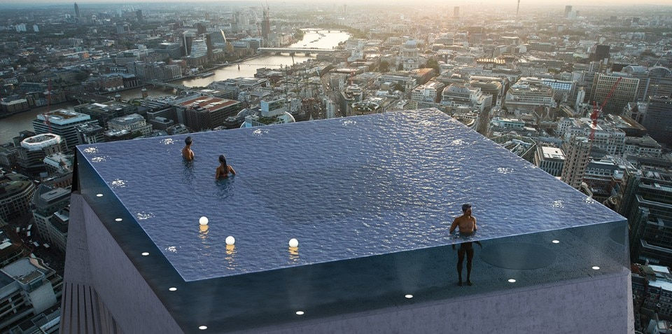 Panoramic swimming pools overlooking London's skyline