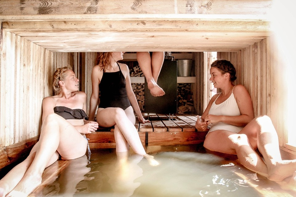 Estonia. A floating sauna built by students in the wilderness